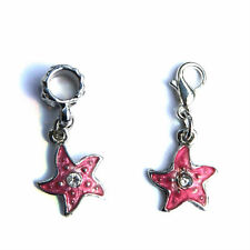 EUROPEAN OR LOBSTER CLASP CLIP ON STYLE PINK ENAMEL STAR / FISH BRACELET CHARMS