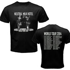 NEUTRAL MILK HOTEL WORLD TOUR 2014 BLACK TSHIRT FOR MENS AND WOMENS NEW
