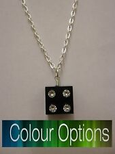 "Lego Brick Charm Set with Cubic Zirconia 18"" Necklace (3 Colour Option )"