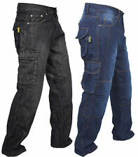 14oz Denim Cargo Motorcycle Motorbike Work Trousers Jeans With Protection Lining