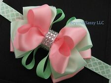 Girl Easter 2-tone Boutique Rhinestone Hair Bow Quatrefoil Lattice Headband Clip