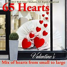 Valentines Day Love Hearts Shop window wall stickers decals window shop 60 A1