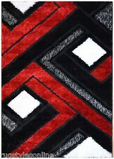 Red Black White Contemporary Design Shaggy Shag Area Rug 6013