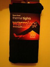 2 x 1 pack ladies 300 denier extra warm fleece lined thermal tights black