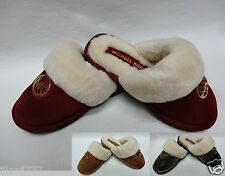 MICHAEL Michael Kors WINTER Shearling Fur Lined Leather Suede Slippers clogs NEW