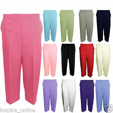 NEW WOMENS LADIES STRETCH ELASTICATED WAIST PLAIN PANTS CAPRI CROPPED TROUSERS