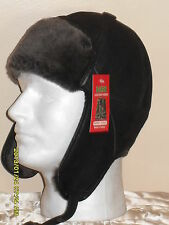 NEW Real Shearling Brown w/Mocha Aviator Bomber Trapper Ushanka Hunting Hat M-2X