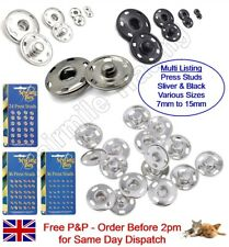 Snap Fasteners Press Studs Poppers Metal Silver Black Large Small Sewing Craft