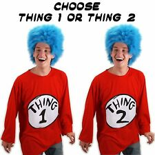 Adult Book Dr. Seuss Cat in the Hat Thing 1 / Thing 2 Costume T-Shirt & Wig Set