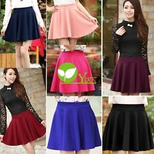 New Women Candy Color Stretch Waist Plain Skater Flared Pleated Mini Skirt DX