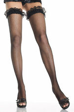 RED Fishnet Thigh High Stockings with Lace Ruffle Top. Red Thigh High Stockings.