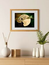 Rustic Night Windmill Moon Cream Rust Country Farmhouse Art Matted Picture A544