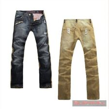 New Mens Designer Denim and Cords Casual Pants JONEAA Jeans Vintage Blue & Cream