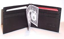 Leather Money Clip / Wallet with 6 Card Slots & 2 Pockets - Black or Dark Brown