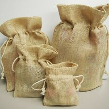 Burlap Pouches Gift Bags w/ Cotton Drawstrings Natural Party Supply Bags