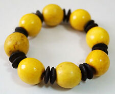 GORGEOUS! NATURAL WOOD BLACK COCONUT SHELL BEADS STRETCH BRACELET