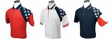 Men's USA Flag Pique Polo, American Flag Polo in Red, White, or Blue, America
