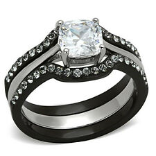 Black & Silver Princess CZ Three Ring Set & Accents Stainless Steel Engagement