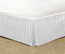 WHITE STRIPED TAILORED BED SKIRT 1000 TC 100% COTTON CHOOSE DROP LENGTH AND SIZE