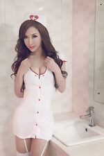 NEW Sexy White Nurse Uniform Costume Cosplay Lingerie + Stocking for Party S/M/L