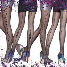 Fiore Fashion Metallic Lurex Shiny Pattern Pantyhose Tights Collection  S M L