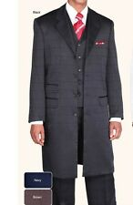 """Men's Long Jacket Suit 42"""" Length with Collared Vest NAVY by Milano Moda 906V"""