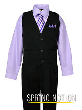 Boys Pinstripe Dress Shirt Vest & Pants Set Lilac