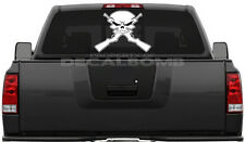 Skull with crossed guns OUTLINE decal / sticker diesel boat trailer rzr atv ak47