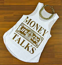 MONEY TALKS Statement Blogger Shirt Swag Top weiß gold Tanktop Oversize 34 36 38