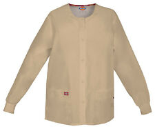 Scrubs Dickies EDS Snap Front Warm-Up Jacket 86306 Khaki KHIZ  FREE SHIPPING!