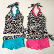2PC Girl Zebra Floral Tankini Swimsuit Halter Swimwear Kid Summer Beachwear 8-14