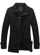 Men's Fashion Jacket Cloth Coat Slim Winter Warm Overcoat Casual Outwear  Black