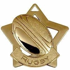 60mm Rugby Medals in Gold, Silver,or Bronze + FREE Ribbon + Option of Case