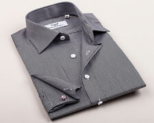 Men's Black Business Shirt in Mini Gingham Check Formal A+ Luxury Dress Clothing