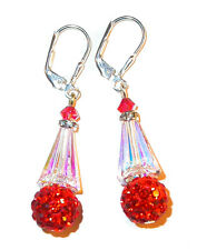 CLEAR AB & PADPARADSCHA Crystal Earrings Silver Disco Ball Swarovski Elements