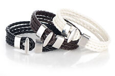 Men Women Four Row Wrap Braided Leather Cuff bracelet wristband 064DD