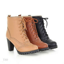 Women's Lace Up Platform Boots Thick High Heels Ankle Shoes US ALL Size  B261