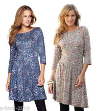 SOUTH CROSS BACK TUNIC / DRESS UK 8 /10 BLUE / TAUPE FLORAL PRINT RRP £20.00