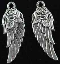 Free shipping 50pcs exquisite two-sided roses wings charms pendant 12x31mm