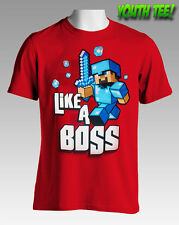 NEW Licensed Quality Minecraft Like A Boss Red Youth Tee S M L XL Free Postage