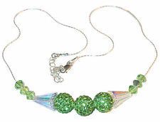 PERIDOT GREEN Crystal Necklace Sterling Silver Disco Ball Swarovski Elements