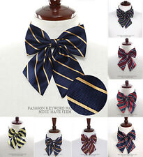 NEW Pre-tied Stripe Girl women thin Bowtie sailor school Necktie