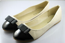 Womens Comfy Ballet Flats Casual Bow Style Flat Shoes (Beige) x 1 pair