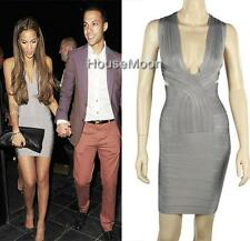 Celebrity Evening Sexy V-NECK GRAY BANDAGE DRESSES BODYCON PARTY DRESS