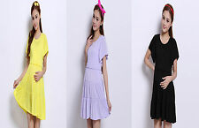 New Summer Women's Maternity Short Sleeve Stretch Dress Cotton Casual Mini Dress