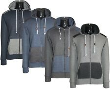 Men's Quilted Patched Long Sleeve Casual Hoodies Polycotton Sweats Tops S to XL