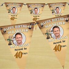 Personalised Old Geezer 30th 40th 50th Birthday PHOTO Flag Banner Bunting - N27