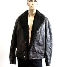 $5100 New Authentic Gucci Leather Biker Jacket w/Shearling Collar Lining, 299731