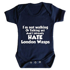 I HATE LONDON WASPS FUNNY BABY GROW - RUGBY BABY GROW LONDON IRISH HARLEQUINS