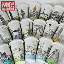 12 floz ceramic travel coffee mug World Citites porcelain cup 2 layers insulate